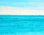 Ocean painting, abstract: Teal Water Horizon, beach painting, oil painting, ocean, sunset