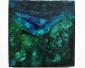 Blue Green Algal Bloom, encaustic painting, alcohol ink painting, abstract art, landscape, algae