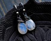 Moonstone Earrings, Drop Earrings, Moonstone Jewelry, Wire Wrapped, Rainbow Moonstone, Dangle Earrings, Sterling Silver, PoleStar