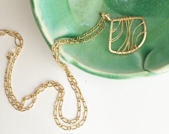 Short Gold Filled Fan Necklace. Wire Wrapped. 14kt. N381GF-S  wire jewelry by cristysjewlery on etsy