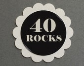 40th Birthday Favor Tags, Scalloped Embellishments for DIY Cupcake Toppers, Forty, Black and White, Set of 12 - READY To Ship