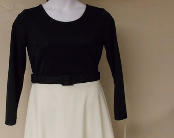 Vintage NOS Toni Todd long gown dress flared cream decorative skirt solid black top