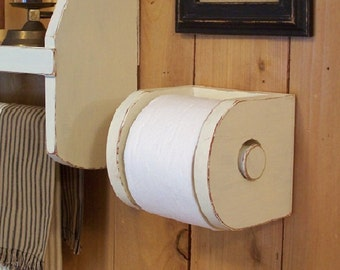 Primitive Toilet Paper Holder for the Bathroom Mega Roll Double Roll Original Design Farmhouse Favorite / Butter Milk / Color Choice