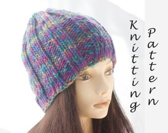 Easy Hat Knitting Pattern, Ribbed Knit Hat  Pattern, Beanie PDF Pattern, Instant Download, Pattern for  Beginners