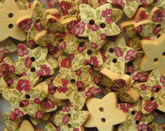 Wooden Buttons Purple stars 15mm x 5 wood star shaped button