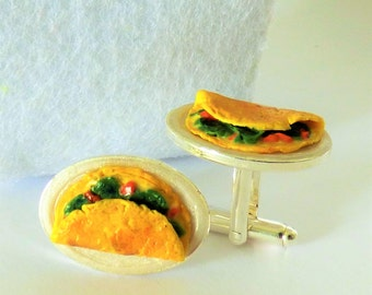 Egg Omelet Cufflinks - Spinach Omelette Cuff Links - Miniature Food Art Jewelry Collectable - Schickie Mickie Original