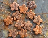 Handmade Copper Paisley Flower Headpins (1 pair)