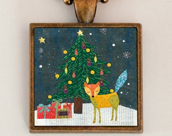 Christmas Fox Necklace, Fox Jewelry, Christmas Jewelry, Fox Pendant Necklace, Fox Gift, Christmas Gift, Fox Necklace, Christmas Stoking Gift