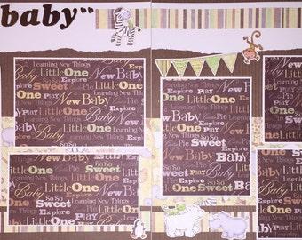 SWEET BABY 12 x 12 premade scrapbook layout - Baby Boy Girl