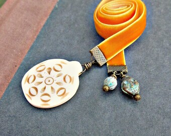 Orange Velvet Ribbon Bookmark with Carved Bone and Distressed Metal Accents: Taboo