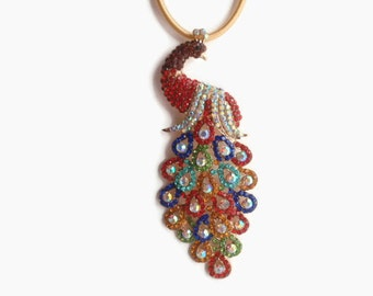 1 Large Colorful Peacock Pendant, Jewelry Making Supply, Gold Color Alloy, with Mixed Color Crystal Rhinestones and AB rhinestones
