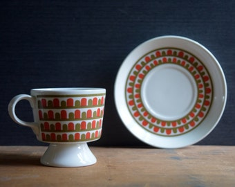 Arabia Finland Footed Cup and Saucer, Orange and Olive Green Mod Design, Small Espresso Cup