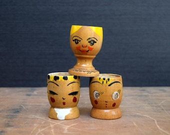 Whimsical Wooden Egg Cups with Faces, Norway and Japan, Norge Wooden Egg Cup