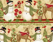 Cotton Fabric, Holiday Fabric, Christmas Fabric, Winter Bliss 3249-44 Stripe Cotton Fabric- Quilting and Sewing~1/2 yard cuts