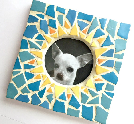 Yellow Blue Sunburst Mosaic Picture Frame, Blue Yellow Mosaic Frame, Square Mosaic Frame, Round Opening Frame, Small Mosaic Gift Frame