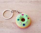 Food Keychain, Donut Keychain, Backpack Charm, Keyring, Food Charm