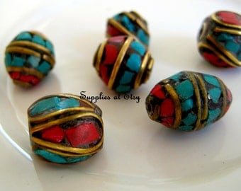 Bohemian Beads-Tibetan Beads-Assorted coral turquoise tribal beads-Rustic Nepalise Beads-Turquoise and Coral Inlaid Brass Beads-Ethnic beads