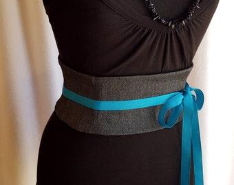 Silver and Black Denim Mini Corset Obi  - Sash Waist Cincher Belt Made to Order