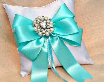 Ring Bearer Pillow - Ring Pillow - Ring Pillow Wedding - Aqua Wedding - Ringbearer Pillow - Pearl Ring Cushion - 30 Ribbon Colors