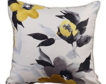 Yellow Pillow Cases 16x16 Couch Pillows Silk Jacquard Patterned Pillow Cover - Yellow Grey Flowers
