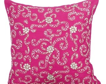 Pink Decorative Throw Pillow Covers Accent Pillow Couch Sofa Toss 16 x 16 Pink Silk Pillow Cover with Zardosi Embroidered Spread The Love