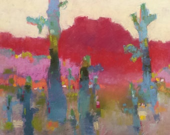 """Small Original Pastel Painting, Abstract,Saguaro Cactus, Landscape, 9 x 12"""", Unframed, Wall Art"""