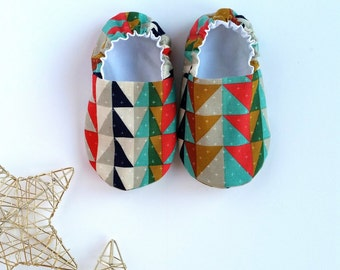 Reversible Baby Shoes, Indigo Serape
