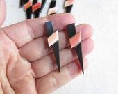Lighting Bolt Natural Peach Coral Intarsia Mosaic Pendant Focal Charm Black Onyx Brass Briolette Bead QTY1