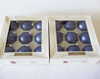 Rauch Periwinkle Blue Glass Christmas Tree Ornament Balls, Holiday Set/18 USA