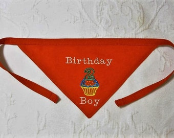 Boy Second Birthday Dog Bandana in TIE Style Sizes S to XL Pick a Fabric