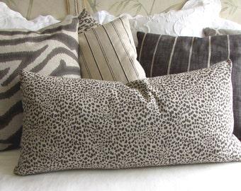 Cub decorative pillow 13x26 insert included  steel gray/fossil print