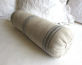 PARISIAN french country lumbar bolster pillow 7X20 in blue stripes