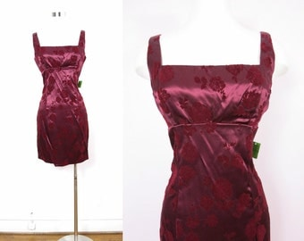 1980s Wine Satin Cocktail Dress M Deadstock