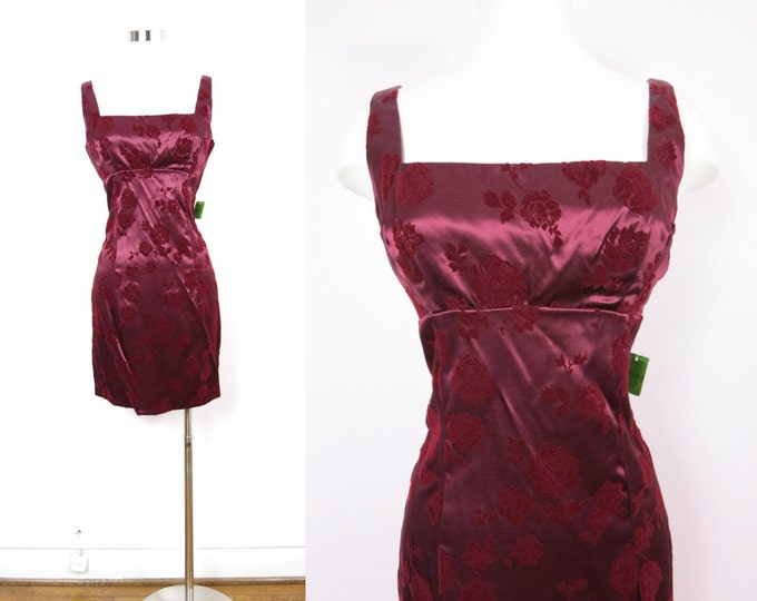 1980s Party Dress | 80s Wine Satin Cocktail Dress M Deadstock
