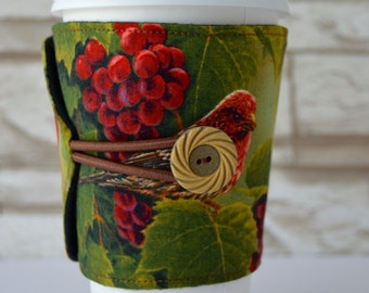 Birds & Berries, Adjustable Coffee or Tea Cup Cozy for Tapered Disposable Cups - READY To SHIP