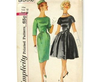 1960s Vintage Sewing Pattern - Rockabilly Dress - Wiggle Dress- Mad Men - Simplicity 3592 / Size 12