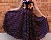 Brown Polka Dot Skirt, Cotton Full Circle Women's Long Skirt, Spotty, Brown and Cream Dots, Fashion, High Waist, Made in Australia.