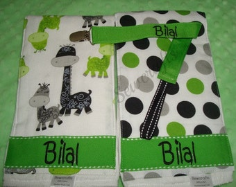 Bilal Personalized Burp cloths and Pacifier Clip 6-ply Premium quality Burp Cloths Boy Gift Dinosaur fabric - Choice of Name