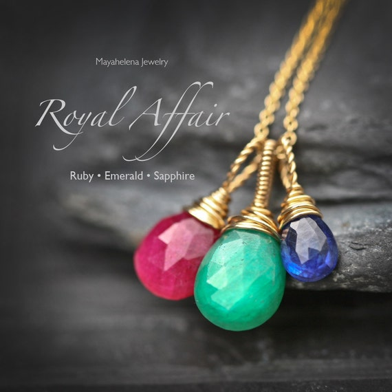 Royal Affair - Emerald Ruby and Sapphire Trio Wire wrapped 14k Gold Filled Necklace