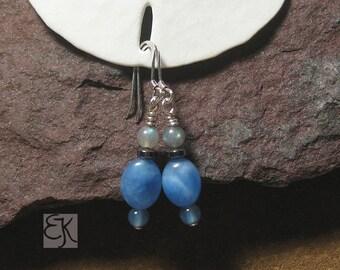 Beautiful Blue Gemstone Earrings, Sodalite Earrings, Semi Precious Beaded Earrings, Women's Earrings, Dangle Earrings, Shimmering Earrings