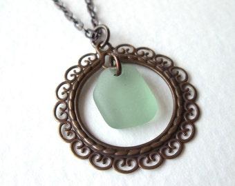 """Filigree Oxidized Copper Circle with Sea Foam Green Sea Glass on 18"""" Oxidized Copper Chain"""