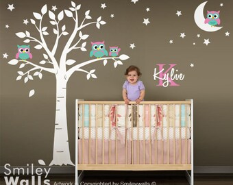 Owls Wall Decal, Owls Tree Moon and Stars Wall Decal for Nursery Baby Room, Owls Moon and Stars Wall Sticker with Custom Name and Initial