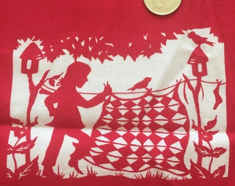Red Silhouette Fabric Quilt