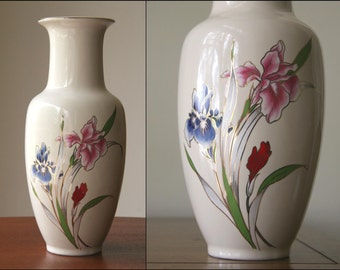 IRIDESCENT IRISES: Vintage Large MidCentury Vase, Made in Japan, Metallic Floral Garden on Creme, Gold Accents, Fine China, Looks NEW