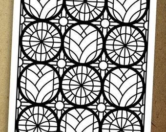 Stained Glass Floral Coloring Page #2. Instant download coloring page.