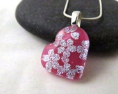 Cherry Blossom Heart Necklace - Fused Glass Necklace