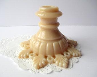 Vintage Westmoreland Almond Milk Glass Ring & Petal Candleholder