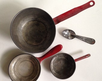 Collection of Three Children's Tin Pans with Red Handles