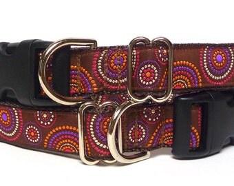 Dog collar, Buckle collar, Tag Collar, Dog Tag Collar, Purple Dog Collar, Purple Brown Collar, CELEBRATION, Polka Dot Dog Collar