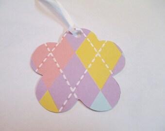 10 Purple Patterned Flower Handmade Gift Tags